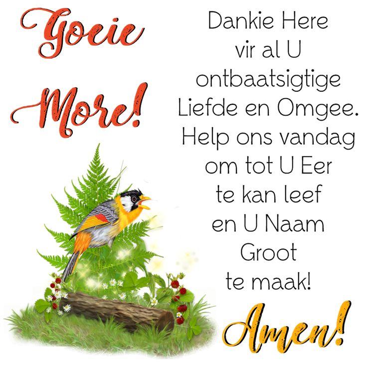 Goeie Môre! Dankie Here vir al U ontbaatsigtige Liefde en Omgee. Help ons vandag om tot U Eer te kan leef en U Naam Groot te maak! Amen!