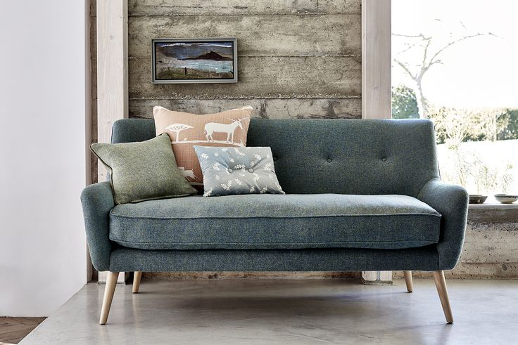 Calmsden Sofa - covered in Harris Tweed, colourway Sea