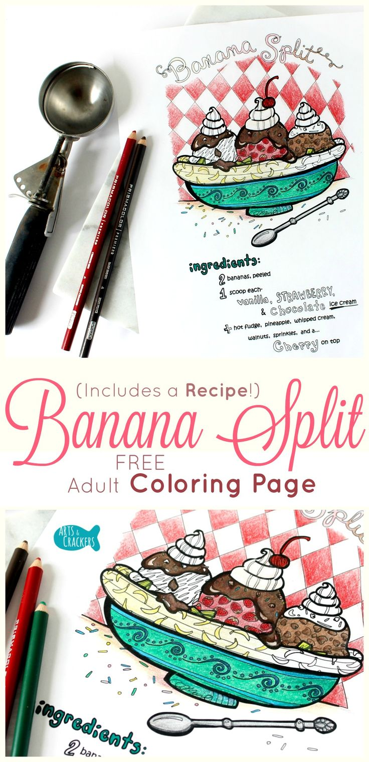 This banana split adult coloring page is fun to color in and even includes a recipe. Print it out, color it in, and file it away with your recipes. Banana Split | Ice Cream | Adult Coloring | Coloring Pages | FREE Printable | FREE Adult Coloring Page | Recipe | Digital Art | Dessert | Food | Retro
