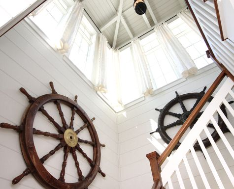 Steering towards Nautical Nostalgia -A Home Inspired by Shipwheels and the Movie Summer of 42House Dreams, Beach House, Beach Cottages, House Ideas, Beachy Naut, Beach Decor, Cottages Dreams, Coastal Decor, Beachy Feelings