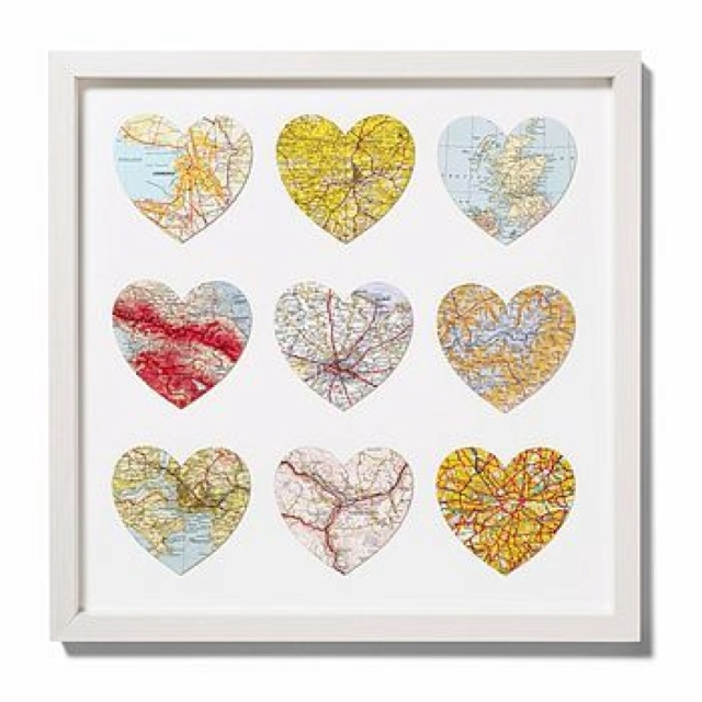 Cute way to display your travels! Cut maps of where you've been into hearts (or any other fun shape) and pick a background to glue them to and then frame it) If you're a world traveler, you could obviously do the same thing and maybe all in one room, maybe around your desk.