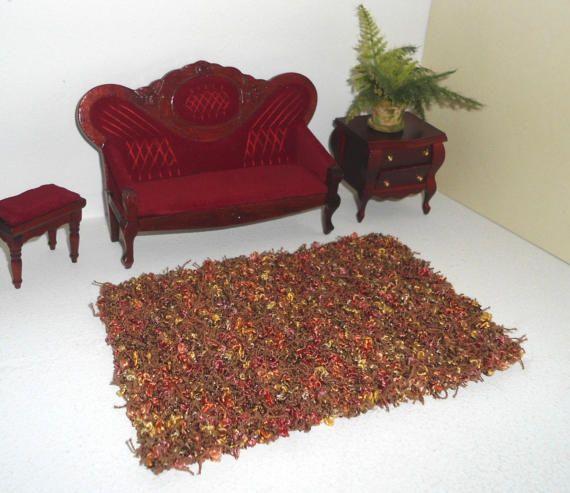 Tappeto marrone in miniatura, tappeto colorato, tappeto moderno in lana, complementi d'arredo in miniatura, in scala 1:12