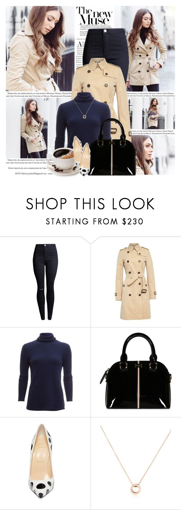 """-"" by l33l ❤ liked on Polyvore featuring Burberry, White + Warren, Christian Louboutin and Bulgari"