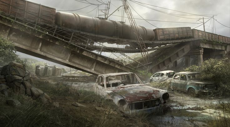Post apocaliptic road, Max Duran on ArtStation at https://www.artstation.com/artwork/xOxDr
