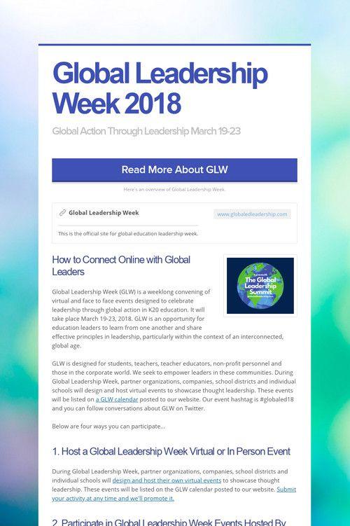 Global Leadership Week 2018