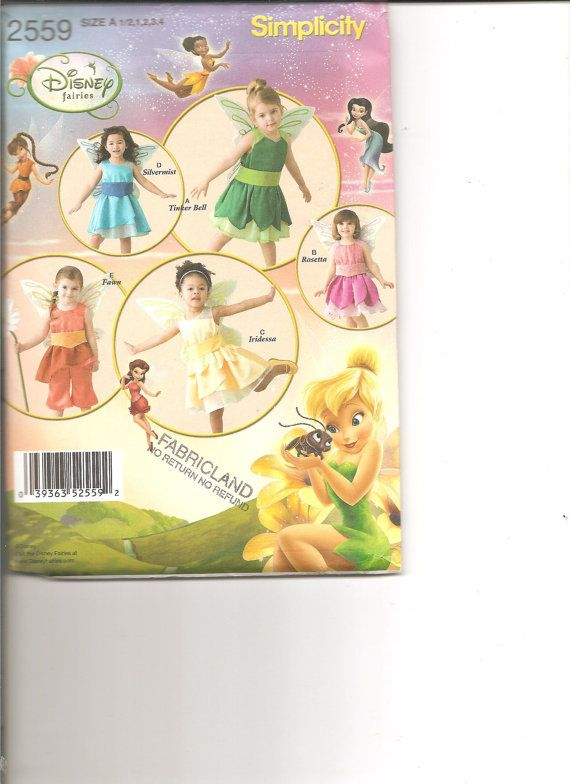 Simplicity 2559 Disney Fairy Halloween Costume Patterns, 6 mos to 4yrs