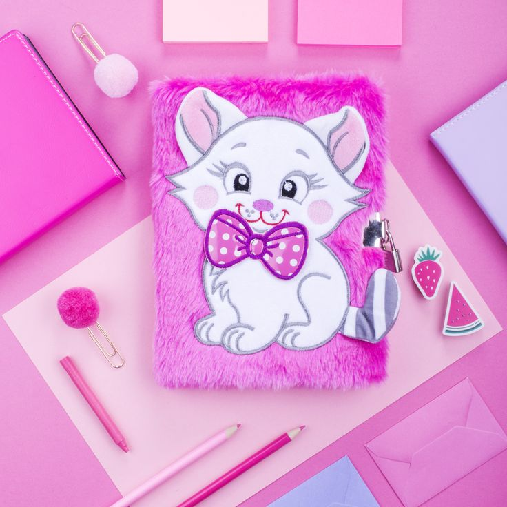 Girly, pink cat secret diary. Adorable, silky soft plush material, 3D details, locket and two keys - perfect back to school gift for girls.