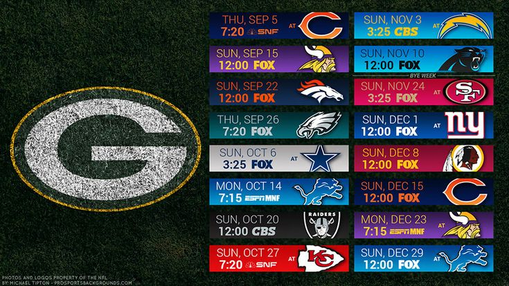 Green Bay Packers 2019 Desktop PC Field NFL Schedule