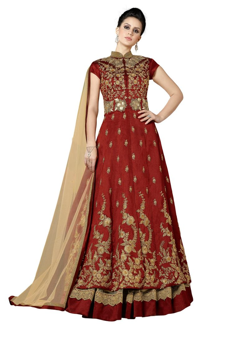 Rust Silk Achkan Style Partywear Salwar Suit #stylish #stylishsuit #stylishindiansuit #stylishsalwarkameez #salwarsuitonline #onlinesalwarkameez #dress #onlineindiandress #sale#nikvik #freeshipping #usa #australia #canada #newzeland #Uk #UAE
