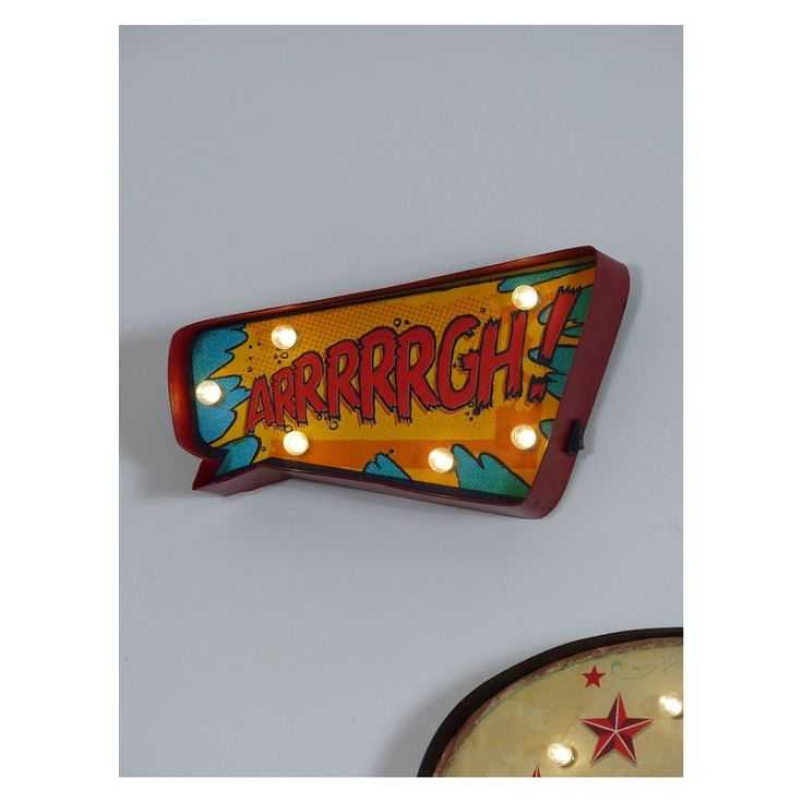 arrrrrgh comic strip wall decor bulb lights, for boys who like toys, bedroom, retro gifts for Christmas for men and him UK