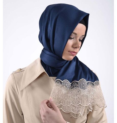 Neva Style Turkish Hijab Satin Lace Shawl 1188 Blue | Modefa USA