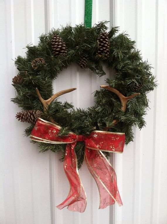 18 inch artificial wreath with 4 pont deer by UnusualDoodads, $40.00