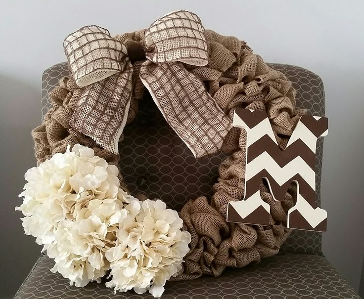 Custom Burlap Wreath with monogram, bow and flowers #wreath #wreathideas #burlap #monogram #flowers #goldenforrestcreations