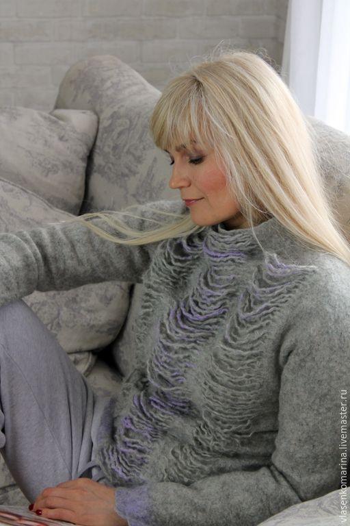 Купить Свитер валяный Снежный барс - абстрактный, свитер, шерстяной свитер, свитшот, теплый свитер