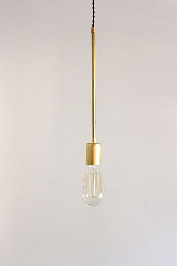 Industrial Pendant Light, Brass Vintage Modern Hanging Light - Cone