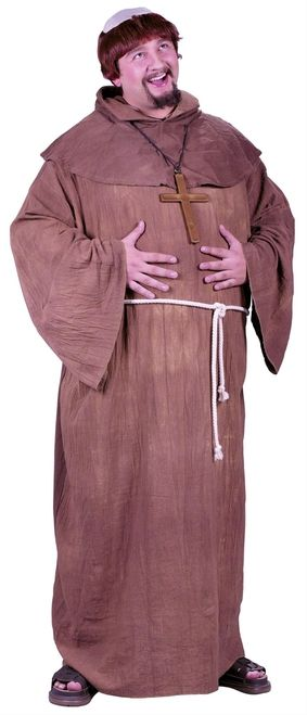 Medieval Monk X-Large Halloween Costume - This Plus Size Monk's costume is a classic. Simple and fun, this costume is perfect for you this Halloween. The costume includes a brown floor length rough cotton robe that pulls on over the head. A matching brown hooded capelet sits over the robe and a rope belt fastens around the waist. A funny brown wig with a bald spot made of cream colored cloth completes this always popular Monk's costume. #yyc #costume #plus #medieval #monk #calgary
