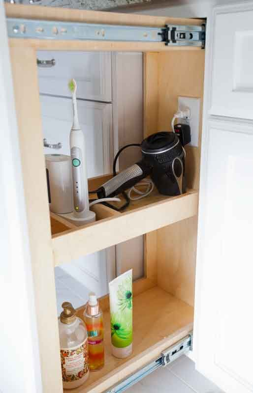 For the Bath: Pull out drawers that have built-in electrical outlets - from cedarhillfarmhouse.com