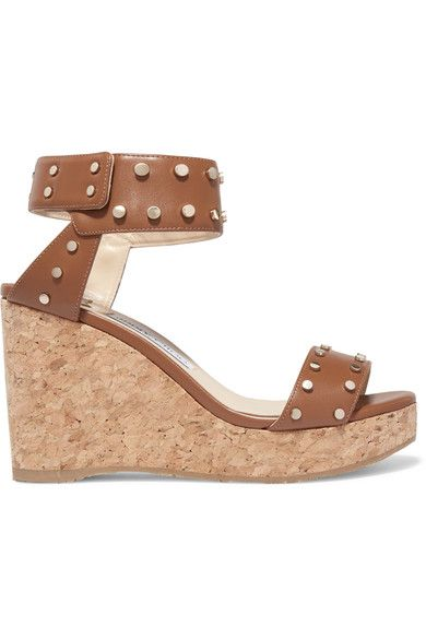 Jimmy Choo - Nelly Studded Leather Wedge Sandals - Tan