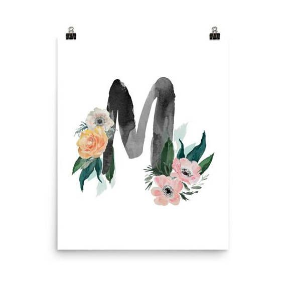 A statement in any room. These matte, museum-quality posters are printed on durable, archival paper. Initial Print M with Watercolor Roses, Nursery Print, Wall Art, Nursery Art, Personalized Nursery, Monogram, Floral Nursery, Floral Letter M, Custom Monogram, Girl Room Decor This is