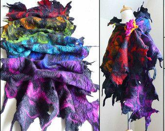 Gevilte wollen sjaal, sjaals, wrap, handgemaakte, vilt, lagenlook, kunst te dragen, regenboog, MADE TO ORDER