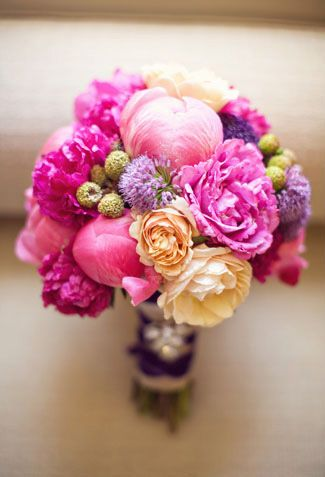 Bright floral bouquet #pink #laylagrayce. THIS IS IT. peach, coral (add), pinks, and purples. love.