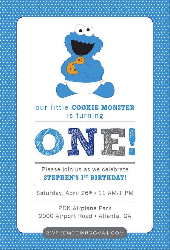 Cookie Monster Sesame Street Baby Birthday by HappyHeartPrinting