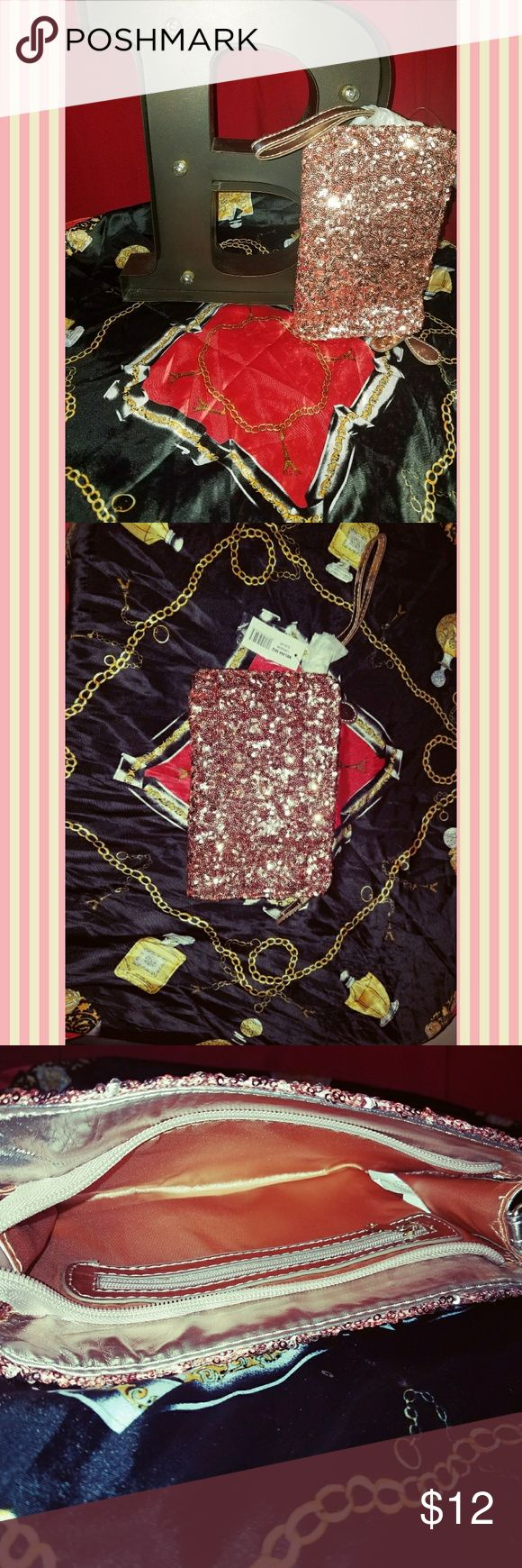 NWT Rose gold sequin clutch 👛 Rose gold sequin clutch - never used - bundle and save - fast shipping! Bakers Bags Clutches & Wristlets