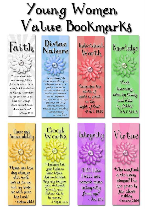 Designs By Kassie: Young Women Value Bookmarks