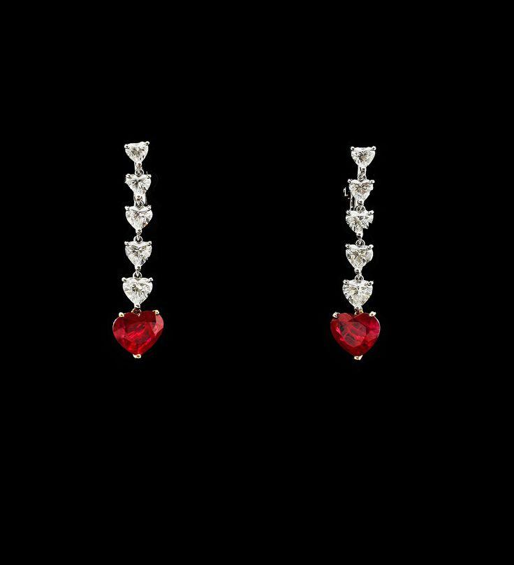 HEART SHAPE BURMESE RUBY AND DIAMONDS EARRINGS COLUCCI DIAMONDS