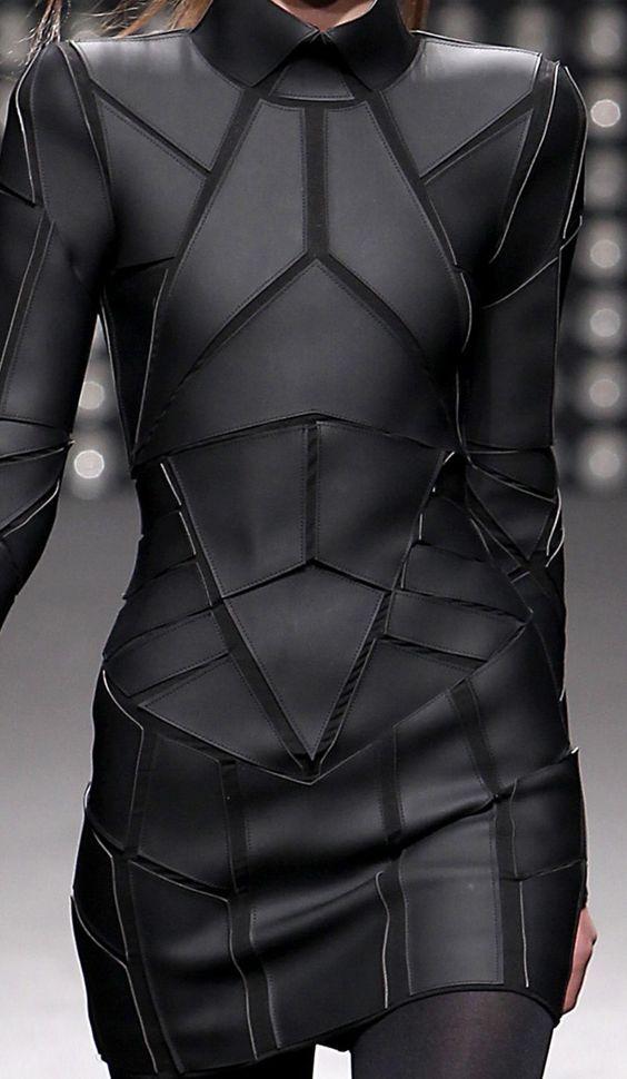 Geometric Fashion - black on black dress with stitched shape segments - futuristic suit; structured fashion details // Gareth Pugh: