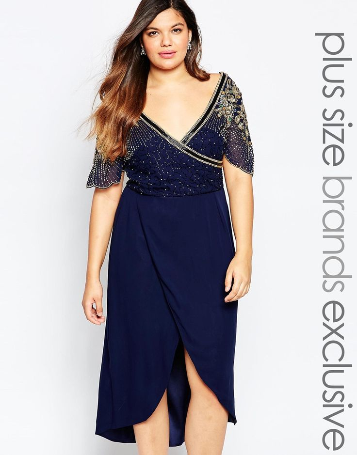 Image 1 ofVirgos Lounge Plus Julisa Embellished Bodice Midi Dress With Scalloped Cap Sleeves
