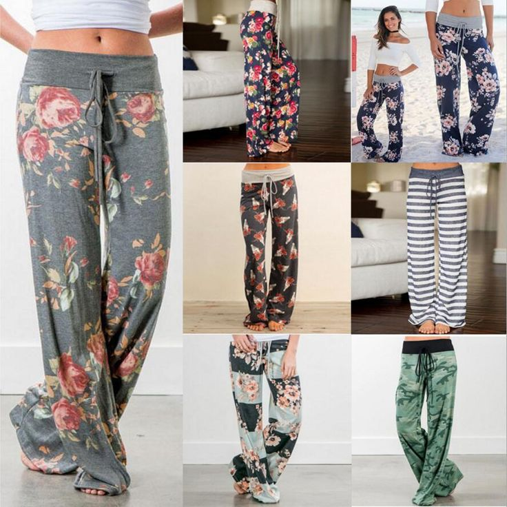 Printed Drawstring High Waist Straight Women Loose Pants Plus Size Ladies Long Trousers