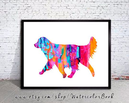 Golden Retriever 4 Watercolor Print Golden by WatercolorBook