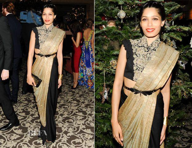 Freida Pinto in a Anamika Khanna sari. Bridelan - a personal wedding shopper & stylist. Website www.bridelan.com #Bridelan #sari