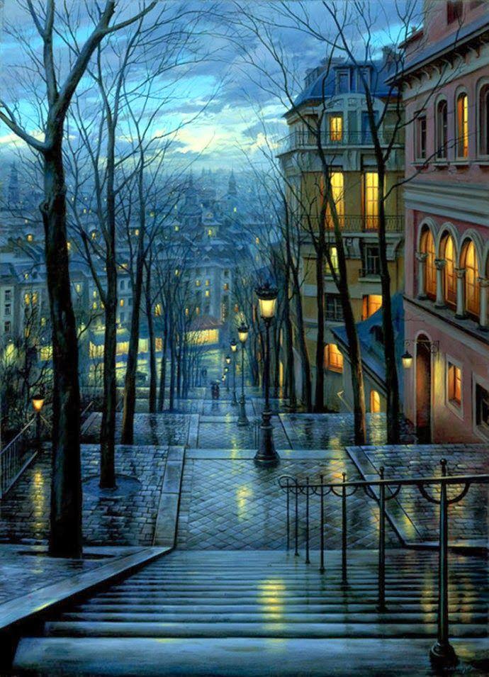 Rainy night , Paris , France: