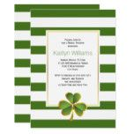 Clover green stripes Irish wedding bridal shower Card