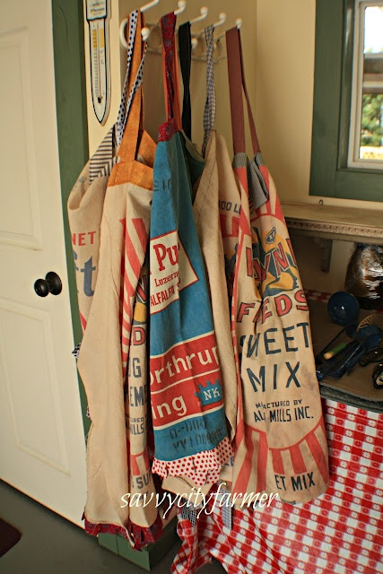 old feed sack aprons                                                                                                                                                                                 More