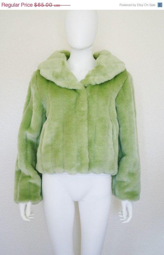 anni 90 di menta verde eco-pelliccia giacca di DEEEPWATERVINTAGE