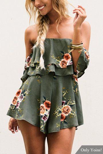 Green Off-The-Shoulder & Layered Details Random Floral Print Romper