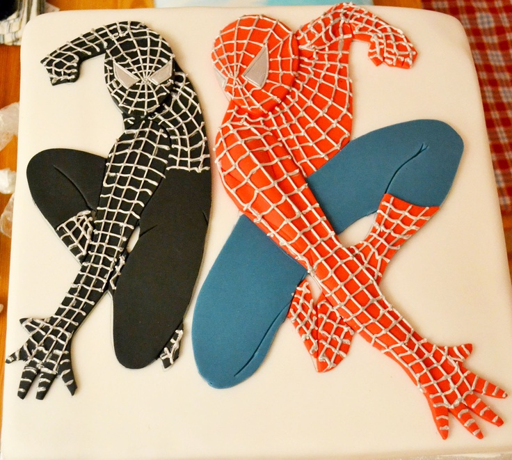 how to make a spiderman cake with fondant