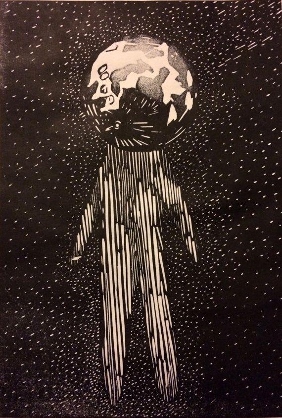 Moon man - space astronomy art gift - celestial art - original linocut