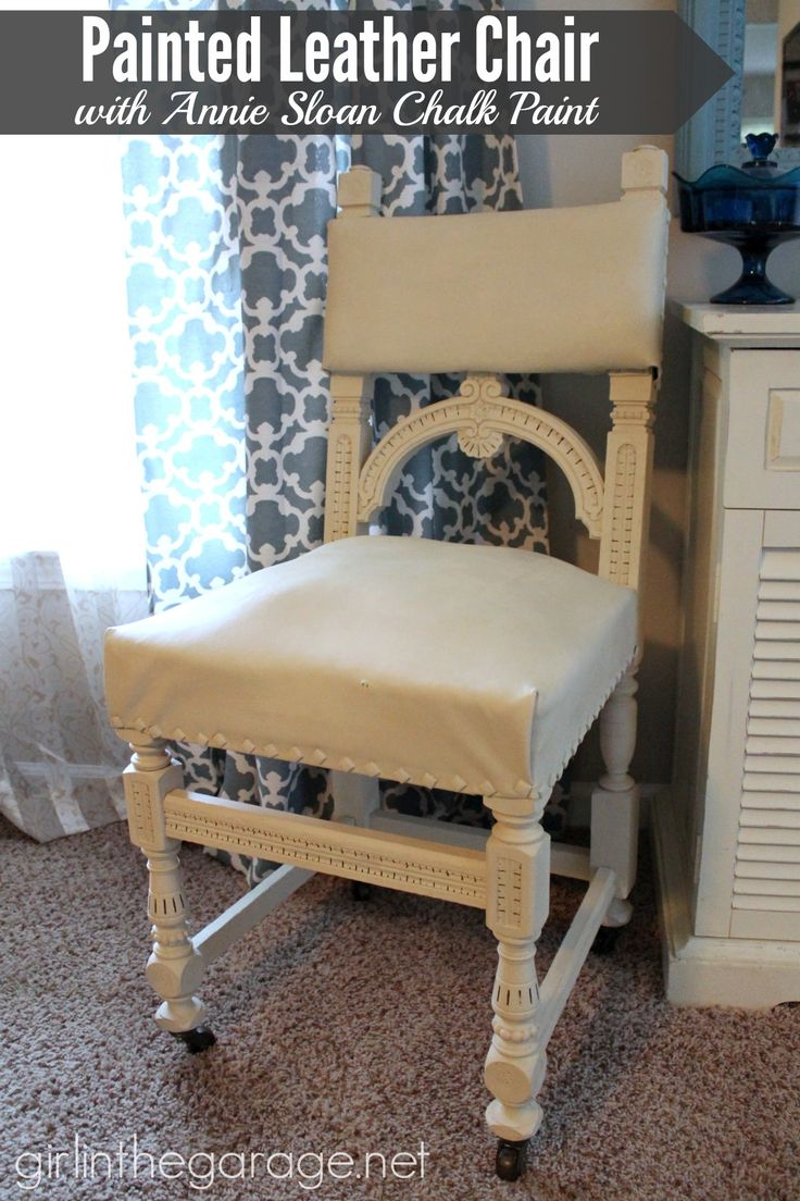 Annie sloan chalk painted fabric chairs by bella tucker decorative - Painted Leather Chair Makeover With Annie Sloan Chalk Paint