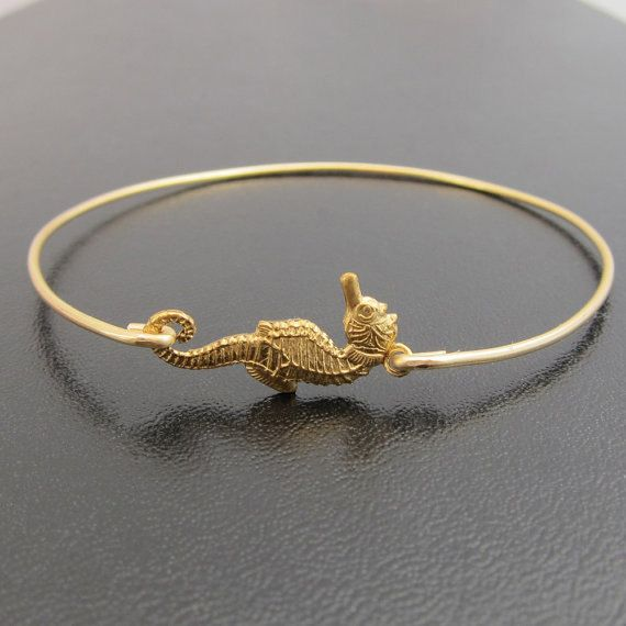 Seahorse Bracelet - Seahorse Jewelry - Summer Fashion & Beach Jewelry by Frosted Willow;    A gold tone brass seahorse has been transformed into a