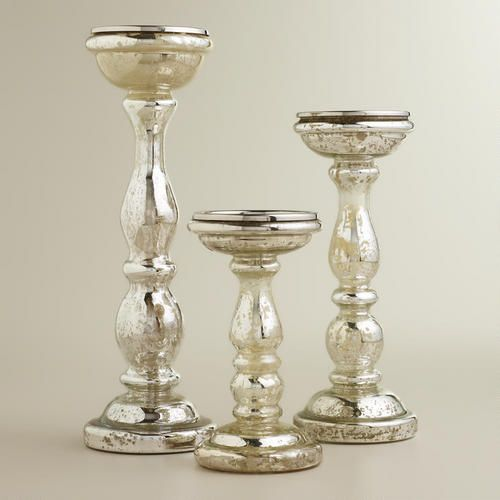 One of my favorite discoveries at WorldMarket.com: Amalie Silver Mercury Glass Pillar Candle Holders