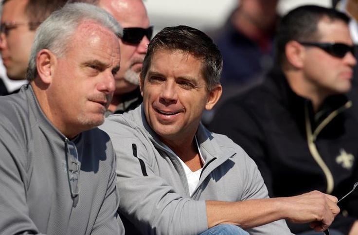 Sean Payton and Joe Vitt at the Senior Bowl 1/23/2013