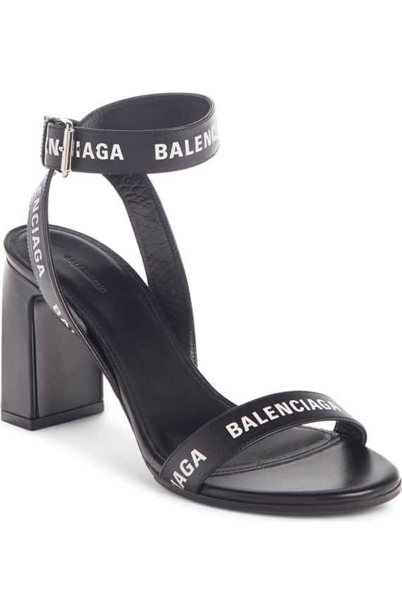 Balenciaga Block Heel Logo Sandal
