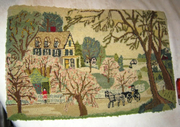 PRIMITIVE ANTIQUE COUNTRY FARM FOLK ART MAN HORSE HOUSE TREE WOOL HOOK RUG TOY