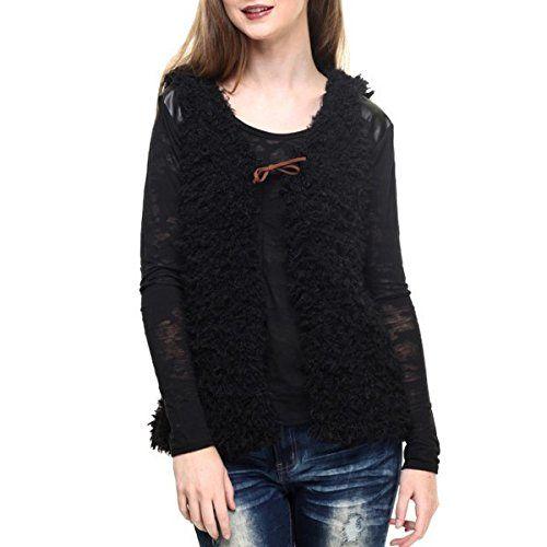(プーフ) Poof レディース トップス タンクトップ faux fur vest w/ rawhide tie detail 並行輸入品  新品【取り寄せ商品のため、お届けまでに2週間前後かかります。】 カラー:ブラック 素材:60% Cotton, 40% Polyester