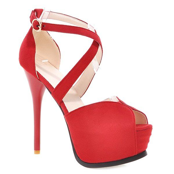 Fashionable Women's Peep Toe Shoes With Stiletto Heel and Cross Straps Design from 38.50$ by SAMMYDRESS