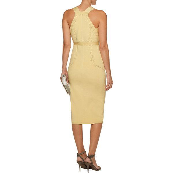 Cushnie et Ochs - Cutout Poinelle-trimmed Stretch-knit Dress (33,275 INR) ❤ liked on Polyvore featuring dresses, side cutout dresses, cutout dresses, cushnie et ochs, cut out dresses and pastel dresses